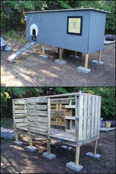 Building A Chicken Coop - Building a chicken coop doesnt have to be expensive! This one is simply made from repurposed pallets :) - Building a chicken coop does not have to be tricky nor does it have to set you back a ton of scratch. Mobile Chicken Coop, Easy Chicken Coop, Chicken Coop Designs, Chicken Coop Plans, Building A Chicken Coop, Chicken Coop Pallets, Backyard Chicken Coops, Chickens Backyard, Raising Chickens