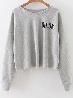 $15.99 Raw Edge Slouchy Cropped Sweatshirt - GRAY M