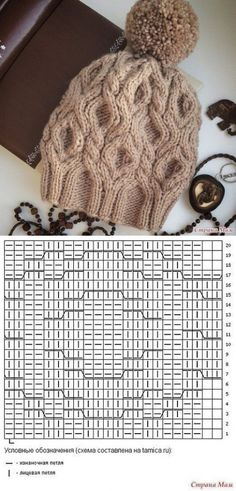 Knitting Patterns Hat Spit, rhombus and incredible softness) – V. Knitting Paterns, Knitting Stitches, Knit Patterns, Cable Knit Hat, Cable Knitting, Crochet Cap, Knitting Accessories, Knitted Hats, Knit Scarf Patterns