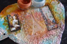 gesso, foil, oil pastels