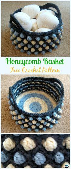 Crochet HoneycombBasket Free Pattern - Crochet Storage Basket Free Patterns