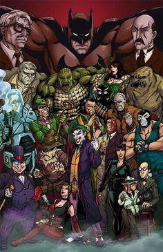 Batman Villians by Brian Atkins Gotham Villains, Comic Villains, Superhero Villains, Dc Comics Heroes, Dc Comics Art, Marvel Dc Comics, Geeks, Batman Universe, Dc Universe