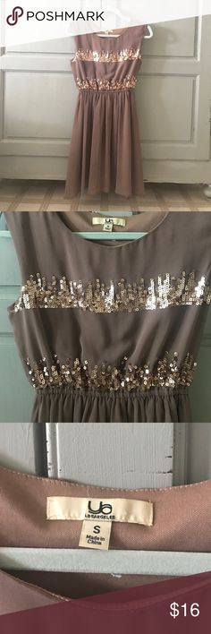 Brown sequin dress Brown chiffon dress with sequin accents. Perfect condition no flaws! Ya Dresses Mini