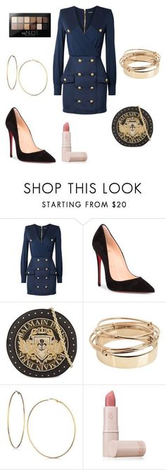"""""""Untitled #375"""" by kaybabync on Polyvore featuring Balmain, Christian Louboutin, Valentino, GUESS, Lipstick Queen and Maybelline"""