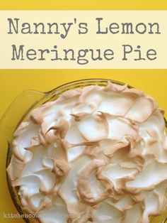 My grandmother's super delicious lemon meringue pie recipe. Nobody makes pie like a grandmother - right? Well, this one comes as close as I'm going to get. Perfectly tart and sweet with a deliciously toasted meringue topping. Lemon Pie Recipe, Lemon Recipes, Pie Recipes, Cooking Recipes, Easy Lemon Meringue Pie, Lemon Desserts, Fun Desserts, Delicious Desserts, Pie Kitchen