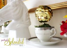 Sequin Teacup Topiaries, flashy and cute!