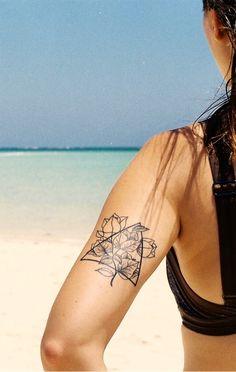 floral flower tattoo geometric roses bougainvillea triangle blackwork