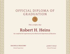 Gold and Red Bordered High School Diploma Certificate - Templates by Canva Certificate Border, Certificate Design, Certificate Templates, High School Graduation, Graduate School, Free High School Diploma, Pta Reflections, Graduation Certificate Template, Award Certificates