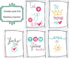 printable doodle cards... spanish word  tarjetas para imprimir en espanol.  tu+yo = amor [you+i= love] eres mi sol [you are my sun] t.q.m te quiero mucho [i love so much] tu reinas mi