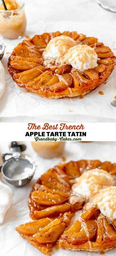 This Classic Apple Tarte Tatin starts with slow-cooked, caramelized apples that are baked into a flaky, buttery puff then topped with a wonderfully spiced Baileys Apple Pie liqueur cream sauce. #tarte #applepie #appletartetatin #tartetatin #apples #puffpastry #frenchdessert #frenchapplepie #frenchappletarte