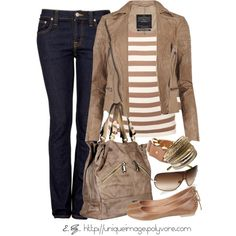Tan Striped Top, created by uniqueimage on Polyvore