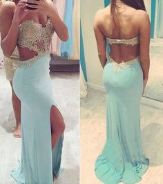 Split at lower part of dress,Sexy dress Hot Sale Charming Long Appliques Real Made Prom Dresses,Long Evening Dresses