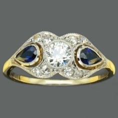 Art Deco Sapphire Ring  Diamond 0.5ct by adinantiquejewellery