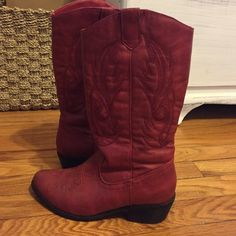 Red Cowgirl Boots Size 6, hardly worn, very comfy cowgirl boots! I still love them, just never have occasions to wear them. Shoes Heeled Boots