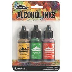 Tim Holtz Alcohol Ink- Whatever colors I'm low on or that I don't have.... They can be bought at Michaels. Make sure you have a coupon though.