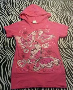 ~ Dream Girls Pink Glittery Butterfly Hooded Top Shirt ~ Size M 10 12  ~EUC
