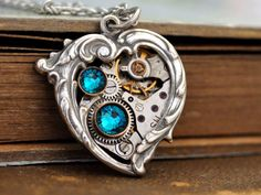 steampunk jewelry, Valentine Jewelry, In My HEART All the TIME, steampunk heart necklace, Victorian heart necklace with watch movement by junesnight on Etsy https://www.etsy.com/listing/119270938/steampunk-jewelry-valentine-jewelry-in