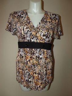 Elementz Size XL Multi-Color Paisley V Neck Short Sleeve Blouse EUC #Elementz #Blouse #Casual
