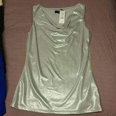 Shimmery silver cowl neck sleeveless top XS White House Black Market.  NWT.  XS...classy sexy. White House Black Market Tops Blouses