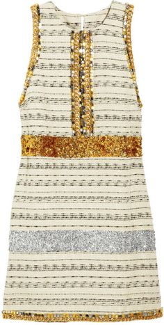 By Malene Birger Callinga Embellished Striped Tweed Dress in Gold (black) - Lyst