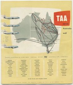 TAA Trans Australia Airlines Destinations Served Vintage Airline, Vintage Travel Posters, Australian Airlines, Domestic Airlines, Australian Vintage, Air New Zealand, Flaxseed, Colonial, Plane