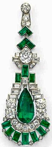 Cartier Art Deco Emerald & Diamond Ear Pendant<3<3<3