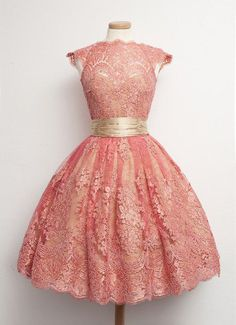 Homecoming Dresses,Junior Homecoming Dresses,Peach lace homecoming dress, 2016