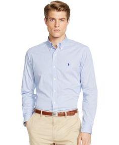 Polo Ralph Lauren Slim-Fit Men's Long Sleeve Stretch Poplin Shirt - Blue White XXL