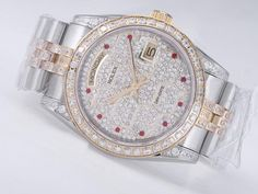 Rolex Day-Date Swiss ETA 2836 Sale Movement Two Tone Diamond Bezel And Dial-Red Marking $198.95