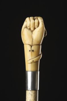 Sailors Scrimshaw Whalebone and Carved Sperm Whale Tooth Walking Cane (1800 to 1900 England)
