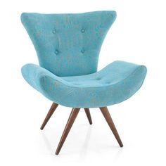 Conforto e Sofisticação! Poltrona Patricia Chenille Azul Império Estofados