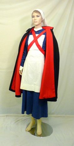 Vintage 1940s WWII Era Wool Nurse's Cape with Red Lining ...