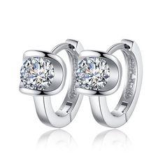 925 Sterling Silver Small Earrings Fashion Fine Jewelry Angel Kiss Luxury Crystal Stud Earrings