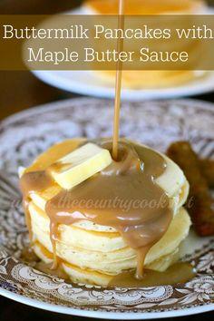 Buttermilk Pancakes with Maple Butter Sauce   www.thecountrycook.net  #FleischmannsYeast