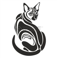 chat dessin: Egyptian Black cat dangerous looking vector graphic tattoo drawing Illustration