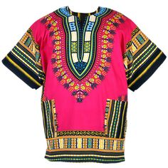 African Dashiki Mexican Poncho Hippie Tribal Ethic Boho Shirt Pink... ❤ liked on Polyvore featuring tribal poncho, cotton poncho, hippie poncho and pink poncho