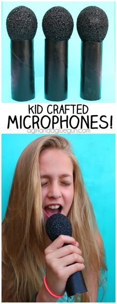 kid crafted microphone made from toilet paper and styrogoam