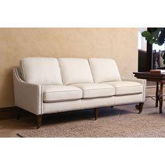 Abbyson Monica Pedersen Ivory Bonded Leather Nailhead Sofa
