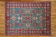 teal green/Wool kazak oriental rug Sh4629
