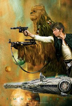 Han Solo and Chewbacca Star Wars Star Wars Fan Art, Star Trek, Star Wars Brasil, Cuadros Star Wars, Nave Star Wars, Han Solo And Chewbacca, Star Wars Personajes, Drawn Art, Star Wars Pictures
