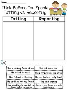 Tattling vs Reporting cut and paste - perfect activity for the first week of school!!