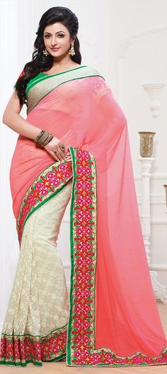 144491: #saree #lace #colorblock #Embroidery, #Sequence, Moti, Border, #sequin #partywear #sale #onlineshopping #gosf2014