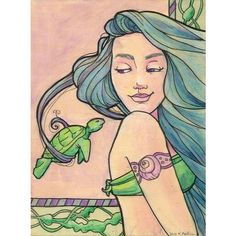 Tattooed Mermaid 6 found on Polyvore featuring accessories, mermaid, art, drawings and fillers