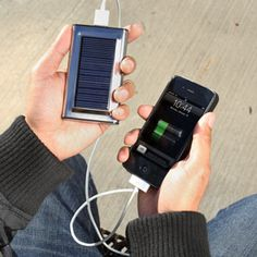 Pocket-sized solar charger w/ universal adapters.