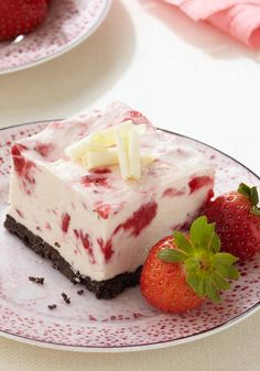 Frozen Strawberry-White Chocolate Mousse Squares – This make-ahead dessert recipe ensures you'll enjoy the dinner party as much as your guests will! These Frozen Strawberry-White Chocolate Mousse Squares are worth saving for a special event.