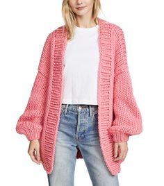 A chunky-knit I Love Mr Mittens cardigan with ribbed edges at the open placket. Dropped shoulders and long sleeves. Available in your choice of colors. Coral Cardigan, Crochet Cardigan, Long Cardigan, Retro Outfits, Casual Outfits, Movie Night Outfits, I Love Mr Mittens, Ribbed Sweater, Autumn Winter Fashion