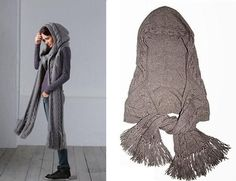 Scarf size: length – 210cm, width – 30cm. Hood size: 72 x 84 cm To knit the hooded scarf you will need 10 balls of yarn (75% wool, 25% silk; 220m/100g); 7mm knitting needles, an auxiliary needle for the braids, 7mm crochet hook, stitch holder. Main knitting • Garter stitch: knit stitches in every …