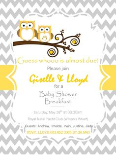 Yellow and grey chevron with owl, baby shower invite