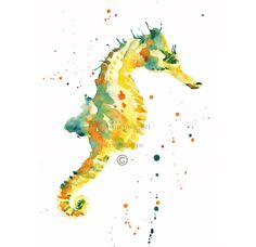 Yellow Watercolor Seahorse Print - 8x10inches by Alison Fennell - Etsy - 16.00