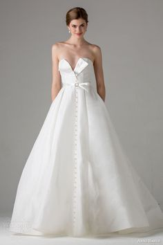 Anne Barge Bridal Fall 2015 | poppy strapless a line wedding dress button front